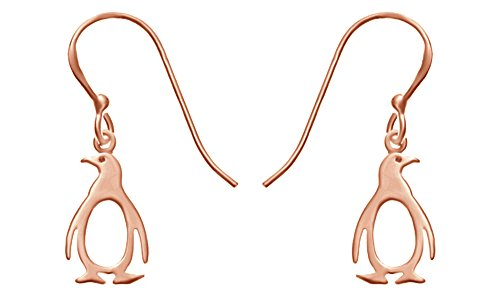 (Christmas Sale 14k Rose Gold Over Sterling Silver Penguin Earrings In 14K Gold Over Sterling Silver)
