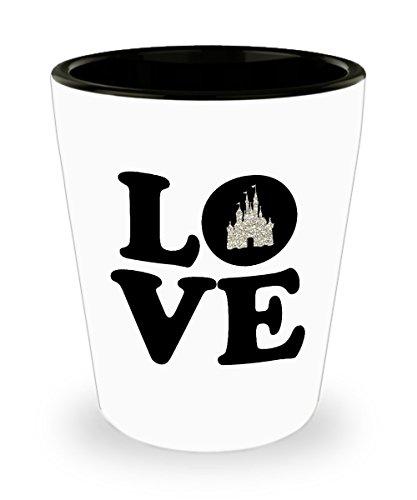 Love Castle Shot Glass Gift Happiest Mouse Ears Magic Kingdom Glitter Sleeping Beauty Cinderella