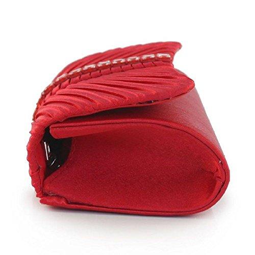 Borsa Sera Frizione BAILIANG Della Purse Red Womens Da Della Borsa Clutch Elegante Raso Della wWY84qtY