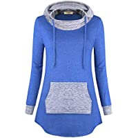 Timeson Women's Cowl Neck Pullover Hoodie Athletic Tunics Shirt
