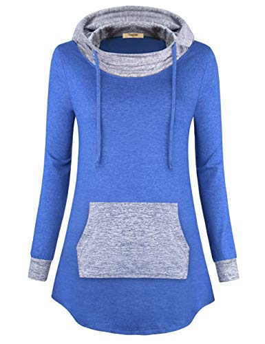 Timeson Loose Hoodies for Women, Woman Plus Size Hoody Tunics Cowl Neck Thin Sweatshirts Wear to Work Fashion Comfy Tunic Hoodies Shirt for Casual Business Work Blue Medium by Timeson