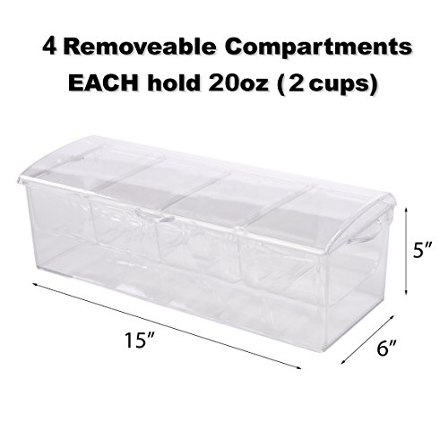 Adorn Home Ice Chilled Large Condiment Server | 4 Compartment on Ice Caddy | 4 Removable Dishes with over 20 Oz. Capacity Each with Hinged Lid | Crystal Clear Plasic by Adorn Home Essentials (Image #5)