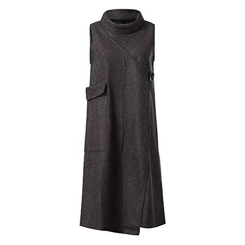 Clearance 2018Christmas Women's Holiday Plus Velvet Paisley Sleeveless Pockets Maxi Dress,Winter Warm Vest Stand Collar Kaftan Dress (Gray, 2XL)