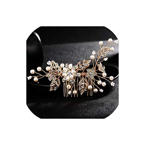 (Perfect-Mood Wedding Crystal Peals Hair Combs Bridal Hair Clips Accessories Jewelry Handmade Women Head Ornaments Headpieces for)