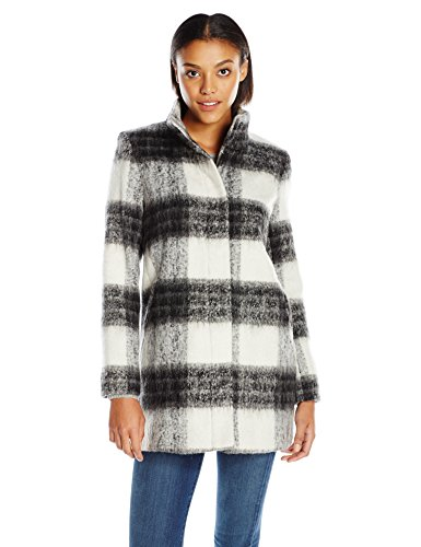 kensie Women's Mohair Wool Stand Collar Blanket Coat, Plaid, M