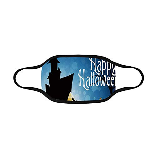 Halloween Comfortable Mouth Mask,Gothic Ancient Castle Moon Cruciform Graveyard Tree Silhouette Abstract For outdoors,Full Size -