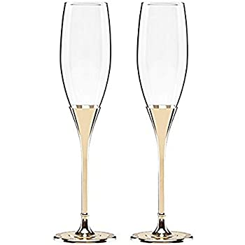 b1e43faa08ce Kate Spade New York Simply Sparkling Gold Champagne Toasting Flute Pair,  Crystal and Gold-Plated Metal
