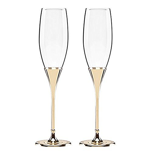 (Kate Spade New York Simply Sparkling Gold Champagne Toasting Flute Pair, Crystal and Gold-Plated Metal)