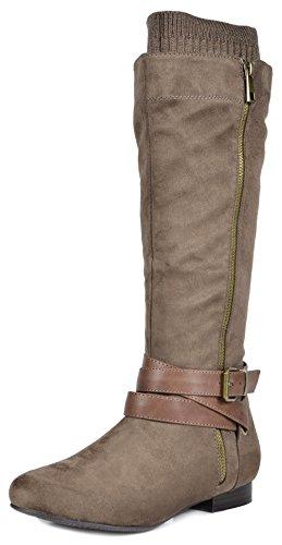 DREAM PAIRS Women's Flat Knee High Boots Khaki-b