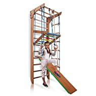 """SportBaby Wooden Swedish Ladder, Wall Bars for Kids, Wood Stall Bar Kinder-3-220-Color - Certificate of Safe USE Home Gym Gymnastic, Climbing Kids, Indoor Children Playground 87"""" x31.5"""