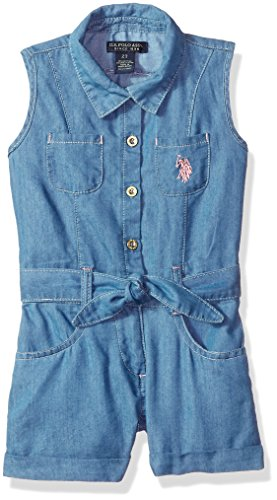 U.S. Polo Assn. Girls' Toddler Romper, Button Front Collared Sleeveless Blue wash, - Collared Blue Romper
