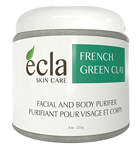 French Green Clay Face Mask Powder - 100% Pure Organic Facial treatment for Acne, Oily skin, Natural Deep Pore Cleansing. Spa Grade Natural Mud Mask.