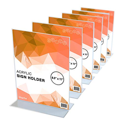 "Acrylic Sign Holder - 8.5"" x 11"" - T Shaped Double Sided, Premium Quality, Durable, Photo, Menu, Marketing Display, Set of 6"