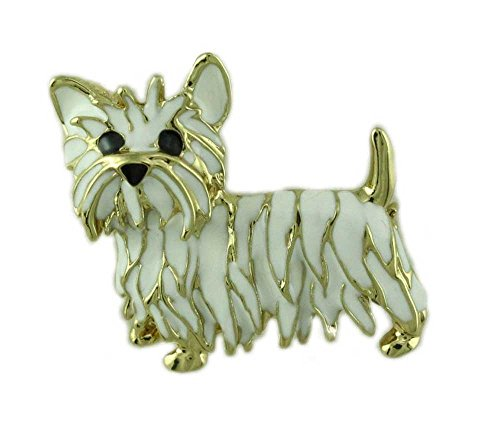 Terrier Dog Brooch Pin - Lilylin Designs White Enamel Cairn Terrier Dog Brooch Pin