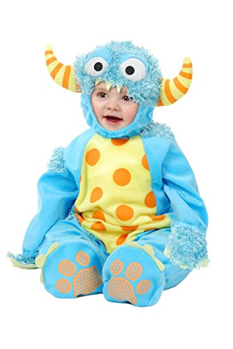 Charades Mini Monster Costume Jumpsuit, Headpiece, and Footsies Baby Costume, -Blue, Infant]()