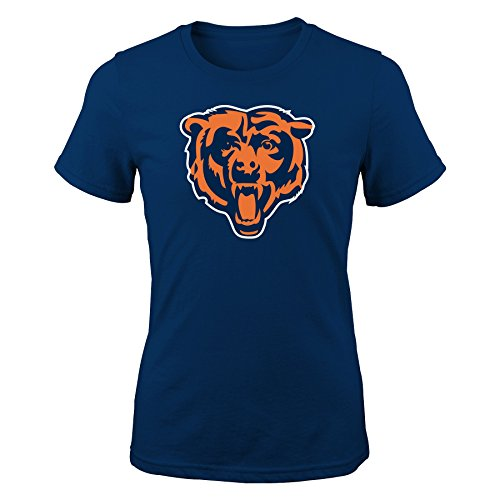 NFL Girls 7-16 Team Logo Short Sleeve Tee-Navy-M(10-12), Chicago Bears -
