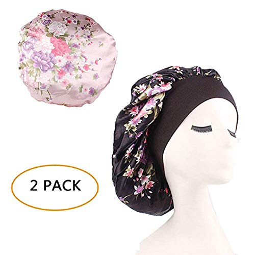Silk Wide Band Bonnet Night Sleep Cap Sleeping Head Cover for Women Girls (Black Floral+Light Pink Floral,2 Pieces)