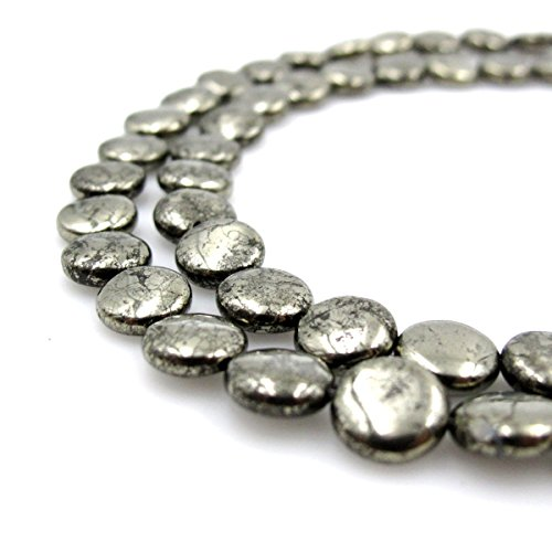 BRCbeads Gorgeous Pyrite Coin Shape Gemstone Round Loose Beads 10mm Approxi 15.5 inch 40pcs 1 Strand per Bag for Jewelry Making (Bead Pendant Pyrite)