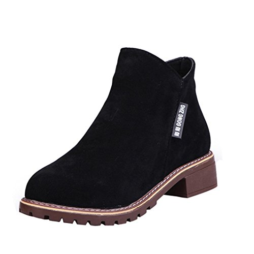 Tootu Women Low Ankle Trim Round Toe Ankle Leather Boots Martin Shoes