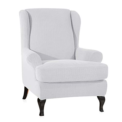 - CHUN YI 2-Piece Stretch Jacquard Spandex Fabric Wing Back Wingback Armchair Chair Slipcovers (White, Wing Chair)