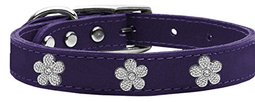 Mirage Pet Products Flower Widget Genuine Leather Dog Collar, Size 24, Purple/Silver
