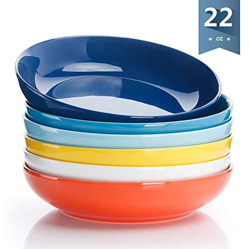 - Sweese 1310 Porcelain Salad/Pasta Bowls - 22 Ounce - Set of 6, Assorted Colors