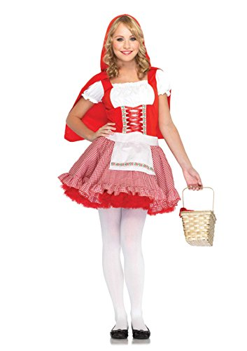 Teen Little Red Riding Hood Costumes - Leg Avenue Junior's 2 Piece Red Hiding Hood Costume, Red/White, Medium/Large