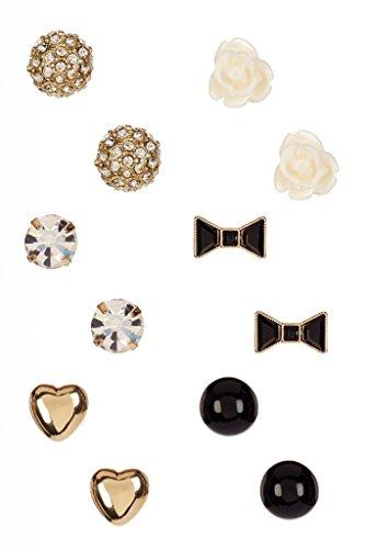 [Lux Accessories Heart, Flower & Bow Stud Earrings Set] (Ladies Ring Leader Costume)