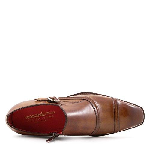 Leonardo Uomo Scarpe 5208sienna Scarpe In Pelle Marrone Monaco