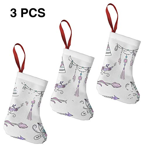Leisue Horse Head Sketch with Flowers Colorful Feathers Spirit 3 Pcs Christmas Stockings Sock Decoration for Holiday