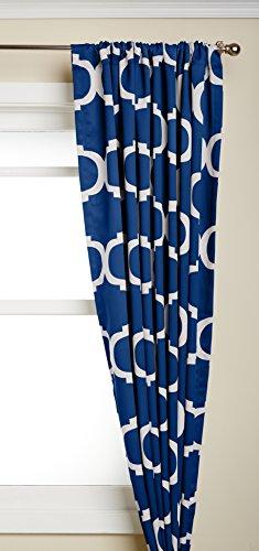 amazoncom lush decor geo room darkening window curtain 84 by 52inch navy set of 2 home u0026 kitchen