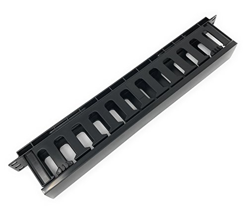 (EnEdge 1U Rack Mount Horizontal Plastic Cable Management Tray with Cover - Finger Duct - 19