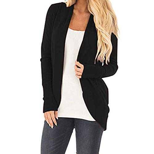 clearance sale!!ZEFOTIM Womens Open Front Fly Away Cardigan Sweater Long Sleeve Plus Loose Drape (US-16/CN-2XL,Black)