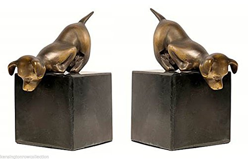 Puppy Bookends - KensingtonRow Home Collection Playful Puppies BOOKENDS - Puppy Dog ATOP Marble Base Book Ends