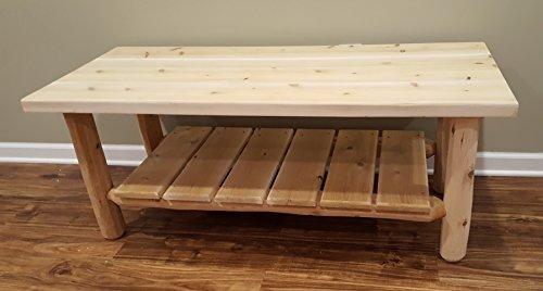 Midwest Log Furniture - White Cedar Log Coffee Table - Log Cedar Nightstand 1 Drawer