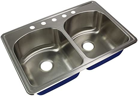 Transolid MTDD33229-5 Kitchen Sink, 33-in x 22-in x 9-in, Stainless Steel