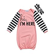 Canis Newborn Baby Boys Girls Long Sleeve Letters Print Sleep Bag Gowns Striped Blanket 0-18M (80(0-12M), Pink)