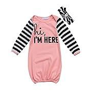 Canis Newborn Baby Boys Girls Long Sleeve Letters Print Sleep Bag Gowns Striped Sleepsack Blanket 0-18M (80(0-12M), Pink)