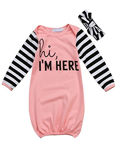 - Canis Newborn Baby Boys Girls Long Sleeve Letters Print Sleep Bag Gowns Striped Blanket 0-18M (80(0-12M), Pink)