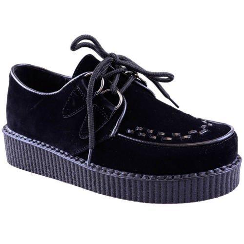 NUEVO DE MUJER Creeper Gótico Punk Plataforma Zapatos Con Cordones Plano Talla - Plateado holograma, 37 EU