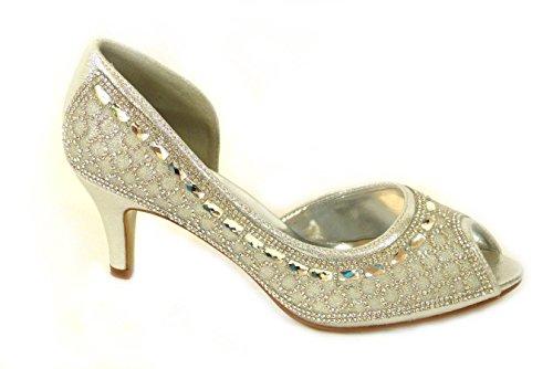 Mid 116A Taille haut 1067 Silver talon Basse de Cour Chaussures mariage Diamante Prom mariage Femme fawUqp4q