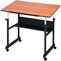 Alvin MM40-3-WBR MiniMaster II Table Black Base with Woodgrain Top