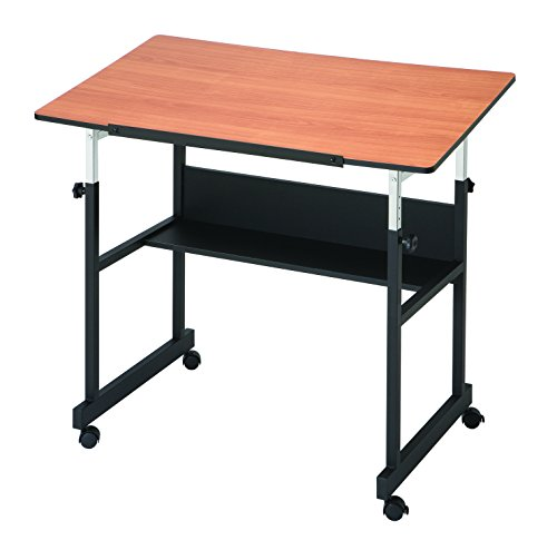 Alvin MM40-3-WBR MiniMaster II Table Black Base with Woodgrain Top by Alvin