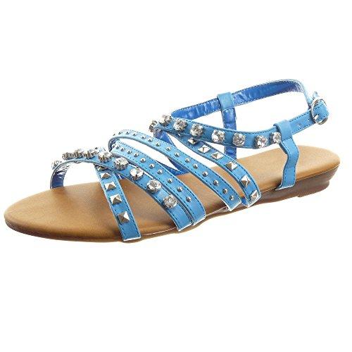 Sopily - damen Mode Schuhe Sandalen Römersandalen Multi-Zaum besetzte Strass - Blau