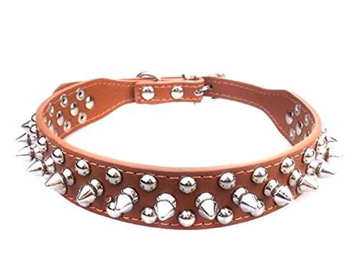 Elandy 1PCS Medium Dogs Adjustable PU Leather Spiked Studded Pet Doget Collars Necklace Neck Decoration with Rivet Dog Basic Collar Protecting Daring Pets from Others Biting 1