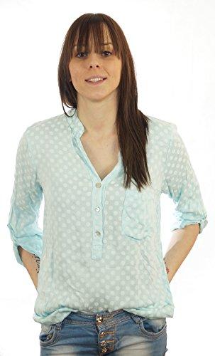 Styled Italy - Camisas - Lunares - mao - manga 3/4 - para mujer verde menta