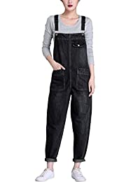 Yeokou Women's Casual Denim Bib Cropped Overalls Pant Jeans Jumpsuits