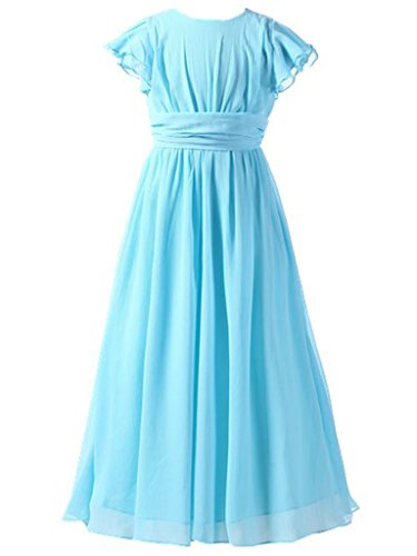 Happy Rose Flower Girl's Dress Prom Party Bridesmaid Dress Long Light Blue 6