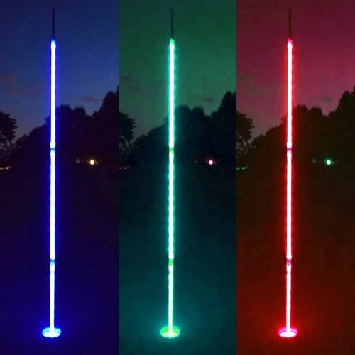 - Light Up LED Night Golf Flag Sticks (Set of 3) - 6.5 ft Glowing Night Golf Pin Flags (Assorted Colors - 1 Blue, 1 Green, 1 Red)