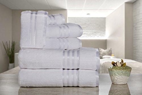 Casa Lino - Premium Quality Zero Twist, Air Soft, 6 Piece Towel Set, 2 Bath Towels, 2 Hand Towels 2 Washcloths, Machine Washable, Hotel Quality, Towel Gift Set- Dove Cotton Collection (Dark Grey)